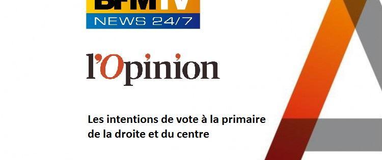 Les intentions de vote à la primaire de la droite et du centre / Sondage pour BFMTV et L'Opinion