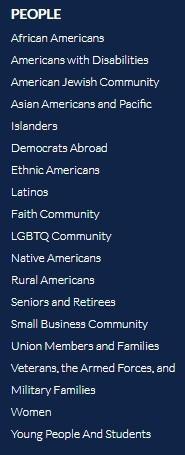 Capture du pied de page du site du Parti Démocrate